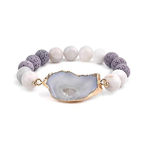 Sonline Pulseras Druzy Irregulares de Piedra Natural una para Mujer, Pulseras EláSticas Hechas una Mano con Cuentas Redondas, Regalos para Mujer