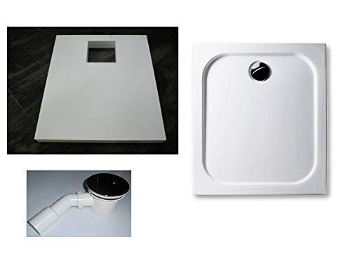 KOMPLETT-PAKET: Duschwanne 90 x 80 cm superflach 2,5 cm weiß Dusche mit GERADER UNTERSEITE Acryl + Styroporträger/Wannenträger + Ablaufgarnitur chrom DN 90