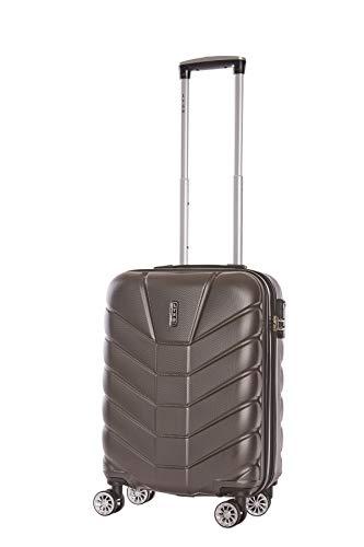 LYS -Maleta de Cabina EXTENDIBLE 55x37x20 cm Plus 7 cm Sufle Ultraligero 4 Ruedas Forradas ABS Equipaje rígido de Mano para Ryanair, Easyjet, Lufthansa (Gris Oscuro)