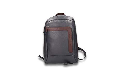 PIQUADRO PC 14', Zaino Unisex-Adulto, Blu/Marrone, 30x39x14 cm