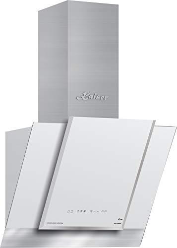 Kaiser AT 6438FW ECO Exklusive Dunstabzugshaube 60cm kopffrei/Edelstahl Wandhaube / 910m³/h/Kaminhaube mit Weiß Glas/kopffreihaube/ LED Display/Abzugshaube/Timer/Umluftset/Ablufthaube/Umlufthaube