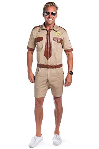 Tipsy Elves' Police Office Costume - Funny Brown Halloween Jumpsuit Size X-Large