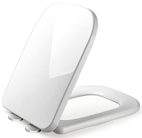 Toilettendeckel WC Sitz mit Absenkautomatik Quick Release Funktion, Sanft Nahe, Toilettensitz Antibakteriell Ist Leicht zu Reinigen, Alle Standard-Toiletten WC Deckel (Eckig Wc Site)