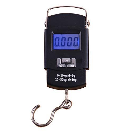 GAOYOO Herramienta De Peso De Cocina 50 Kg X 10 G Mini Balanza Digital para Equipaje De Pesca Ponderación De Viaje Steelyard Hanging Electronic Hook Scale