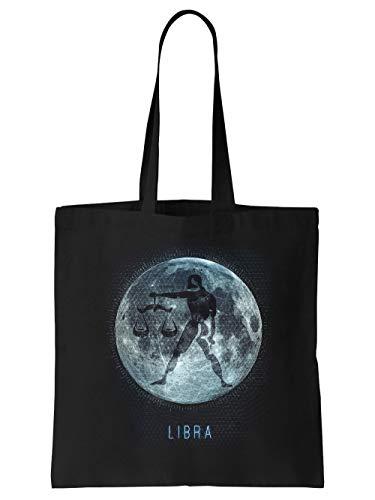clothinx Sternzeichen Mond Waage | Geburtstag und Geburt September - Oktober | Liebevoll gestaltetes Tierkreiszeichen Motiv Stoff-Tasche Schwarz