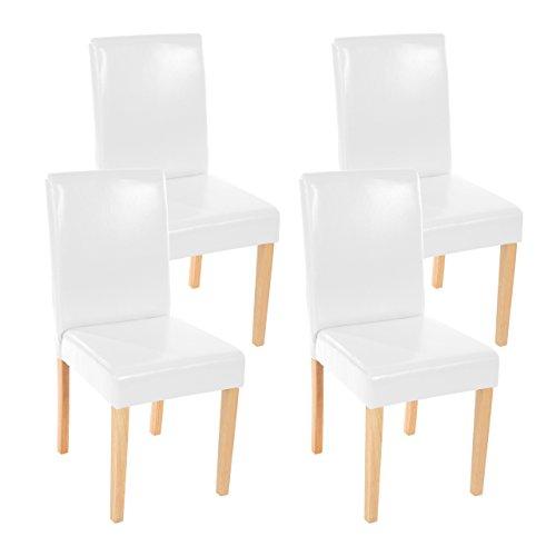Mendler Lot de 4 chaises de séjour Littau, Simili-Cuir, Blanc, Pieds clairs