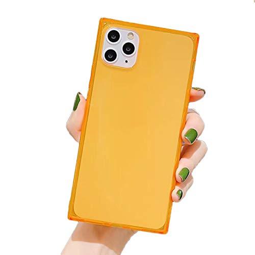 HHZY Funda Cuadrado Compatible con iPhone 12 Pro MAX Carcasa de Silicona Transparente con Esquinas Reforzadas Cojín Carcasa de Silicona TPU con Absorción de Impactos,Naranja,12