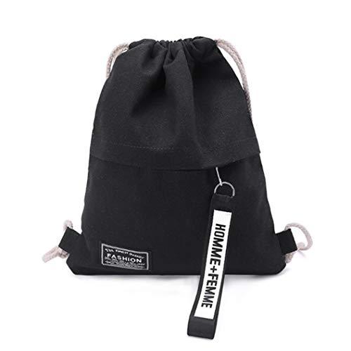 YHFJB Mochila de lona con cordón para gimnasia, mochila para adolescentes, escuela, accesorios al aire libre, color negro