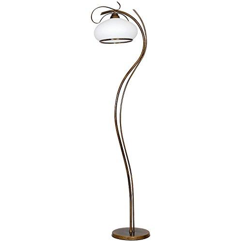 Stehlampe Messing Optik Glas Metall 176cm Wohnzimmer Jugendstil edel Stehleuchte