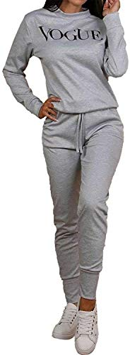 New Womens Ladies Sexy Vogue Print 2 Pieces Loungewear Tracksuit Ladies Winter Wear Top and Jogger Set Grey 8 10