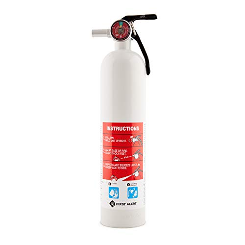 First Alert Fire Extinguisher | Car and Marine Fire Extinguisher, White, FE10GR