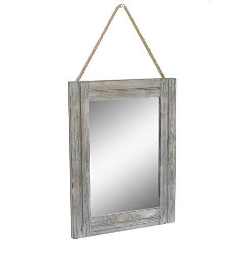 EMAISON 16 X 12 Inch Rustic Wood Framed Wall Mirror with Hanging -