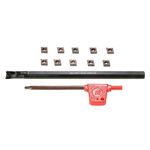 MEIYOUNG LITWOLI S07K-SCLCR06 - Soporte para herramientas de torno, 7 x 125 mm, con 10 insertos de fresado CCMT0602