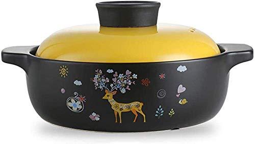 zyl Casserole Pot Casserole en céramique - Plat en céramique à Induction Domestique et sans Danger pour Le gaz avec Couvercle Jaune-Jaune_2.4 litres