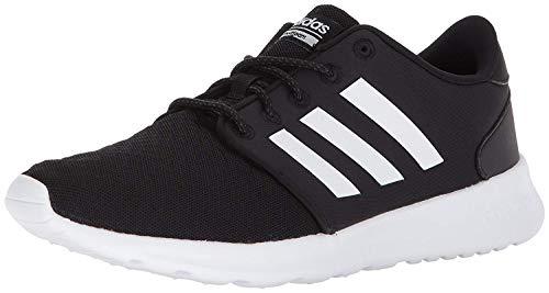 adidas womens CloudfoamQt Racer Sneaker, Black/White/Carbon, 8.5 US