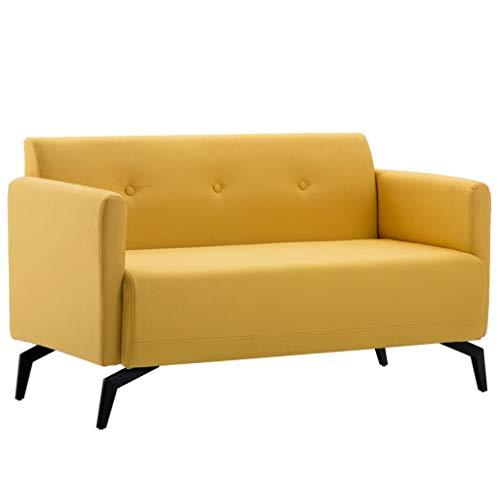 Tidyard 2-Sitzer-Sofa Stoffbezug 115 x 60 x 67 cm Gelb Sofagarnitur Polstersofa Loungesofa Wohnzimmersofa Wohnmöbel Büromöbel Holzrahmen mit Stoffpolsterung