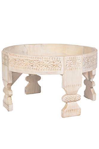 Marokkanischer Vintage Beistelltisch Hocker aus Holz Idris Weiss ø 60cm rund | Orientalischer runder Tisch Blumenhocker klein für Wohnzimmer oder Küche | Orientalische Beistelltische als Dekoration