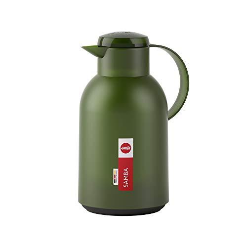 Emsa N4012100 Samba Isolierkanne (1,5 Liter, Quick Press Verschluss, 12h heiß und 24h kalt) Transluzent/Dunkelgrün