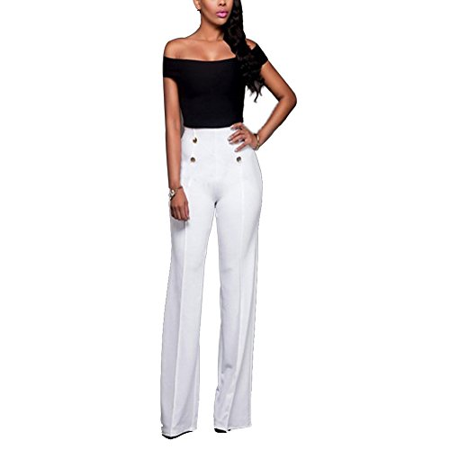 Women's Stretchy High Waisted Wide Leg Button-Down Pants Sailor Bell Flare Pants White