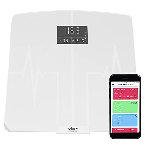 Vive Precision Body Fat Fitness Scale Heart Rate Monitor - for Water Weight BMI Muscle Percentage - Bathroom Accessory Body Composition Analyzer - Accurate, Smart, Digital - for Exercise, Bodybuilding