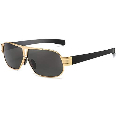 WHSS Gafas de sol Casual Moda Metal Material Polarizado Trend Gafas de sol Trend Gold/Brown Frame Gafas de sol de conducción para hombre (Color: Dorado)