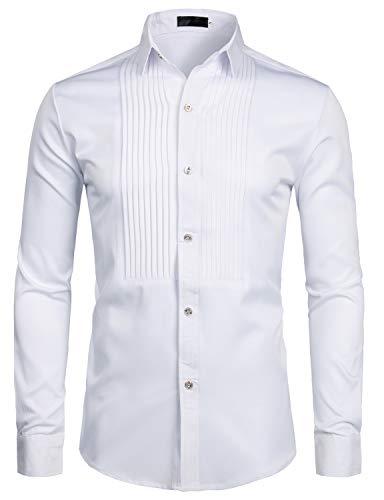 ZEROYAA Mens Slim Fit Long Sleeve Tuxedo Dress Shirts/Prom Performing Shirts Z54 White Large