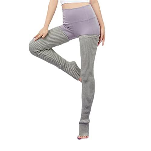 SimidunEUR 95 CM Mujer Calentadores Piernas Calentar de Invierno Calientapiernas Tejido de Punto para Formación Danza Yoga ,Gris 2
