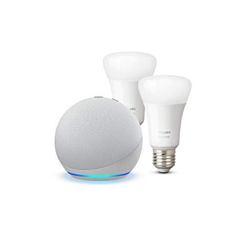 Echo Dot (4.ª generación), Blanco + Philips Hue White Pack de 2 bombillas LED inteligentes, compatible con Bluetooth y Zigbee, no se requiere controlador