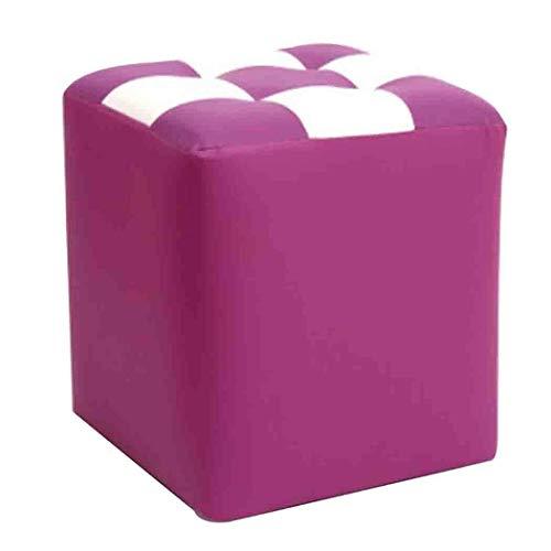 Fdsg Reposapiés del reposapiés, Cuero Cubo Asiento reposapiés para sofá Dormitorio Mesa de Centro, sólido y Durable, Purple_30x30x35CM