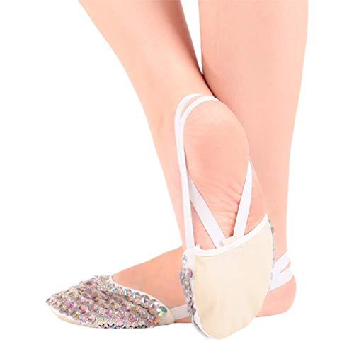 HEALLILY Zapatos de Ballet de Cuero para Mujer Bailarina de Lentejuelas Suela Zapatilla Patas Delanteras Tangas para Pies Protector de Protección para Yoga Tamaño de Gimnasio XL