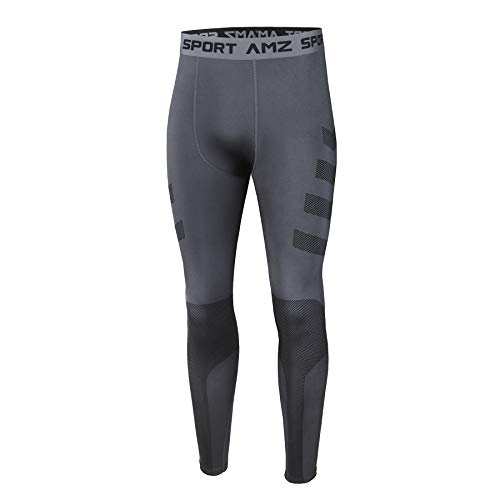AMZSPORT Mallas de Compresión para Hombre Pantalones Deportivos Frescos y Secos Medias de Entrenamiento Físico, Gris, S