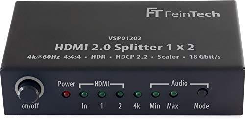 FeinTech VSP01202 HDMI 2.0 Splitter 1x2 mit 4K HDR Down-Scaler Audio-EDID Schwarz