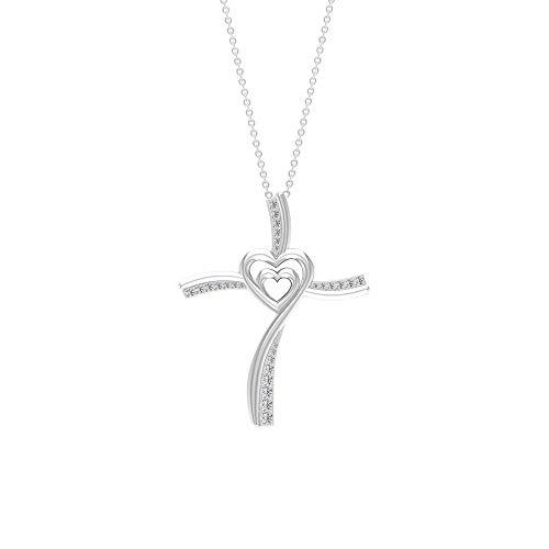 Colgante con forma de corazón grabado en oro de 1/4 ct. Certificado de diamante, único corazón amor para siempre, colgante de declaración religiosa, para mujer,10K Oro blanco Sin cadena