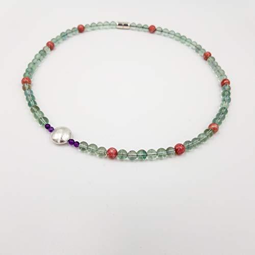 Design Edelsteinkette - inspiriert von Robert Delaunay - grün Fluorit rosa Thulit lila Amethyst