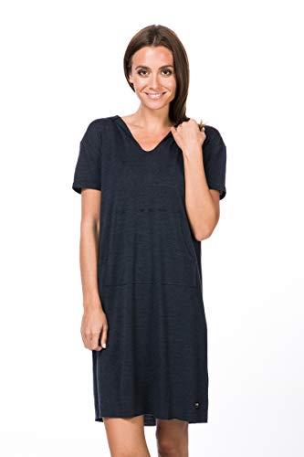 super.natural Damen T-Shirt Kleid, Mit Merinowolle, W CHILL OUT DRESS, Größe: S, Farbe: Dunkelblau meliert
