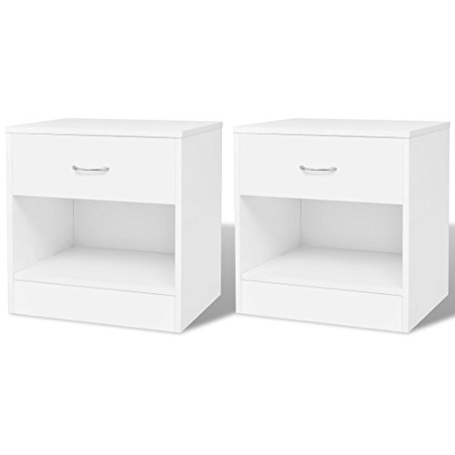 vidaXL 2 mesitas de Noche con un cajón Espacioso de Color Blanco duraderas y robustas
