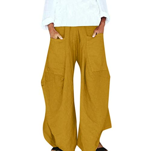 KPPONG Hose Damen Große Tasche Lockerer Weite Bein Hose Freizeithosen Elegant Stylischer Saum Pumphose Haremshose