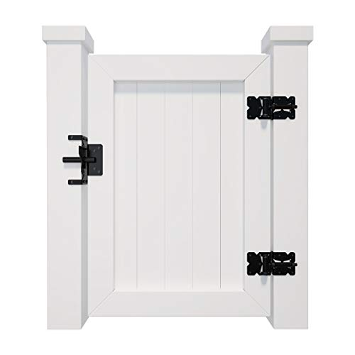 SANKEYTEW Gate Hinges and Latch Hardware Kit for Vinyl and PVC Fences, Heavy Duty Stainless Steel, 2 Self-Closing Hinges and 1 Self-Locking Latch, Black