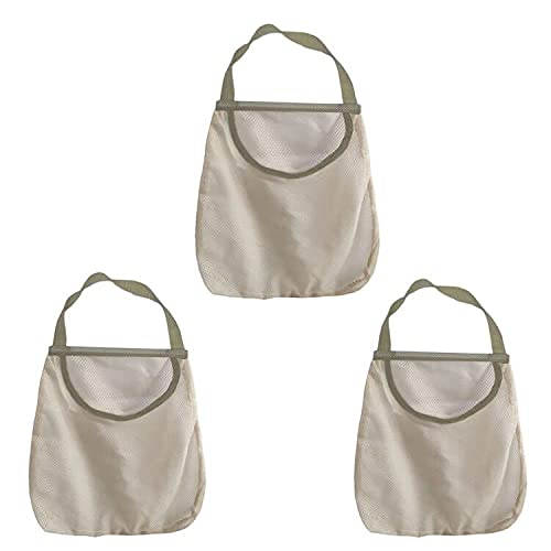 Hanging Mesh Storage Bags For Potatoes,Onions,Garlics,Vegetables Wide and Large Reusable Net Storage Bags for Fruit Veggies Green Pepper or Garbage Bag By AHYUAN (3)