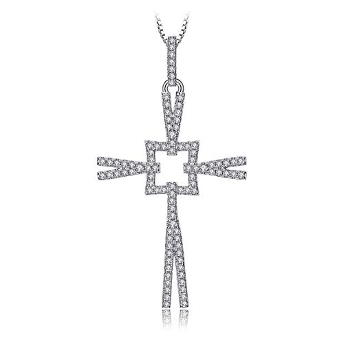 necklace Ladies fashion Heart Cross Triangle cat face pendant sterling silver ship wheel 18 inches color name Hoisting (Color : Cross)