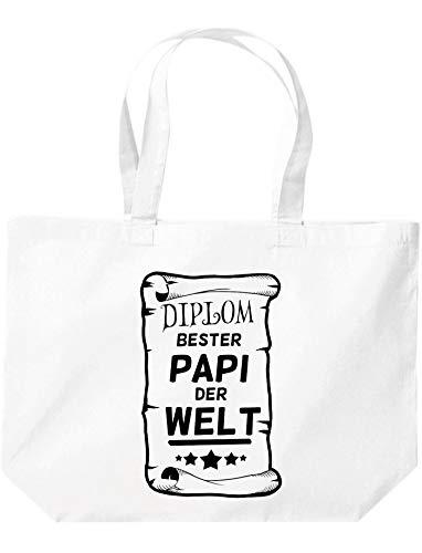 Shirtinstyle Stoffbeutel, Diplom Bester Papi Der Welt, Spruch Familie Freunde Dankeschön, Shopper, Jute, Beutel, Weiss