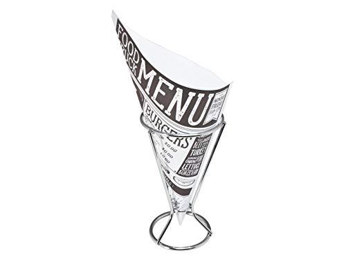 MIJOMA Pommes-Frites Ständer, Gestell für Spitztüten, Tapasständer, inkl. 5 Papier-Spitztüten, rostfreier Edelstahl