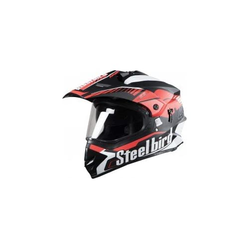 Steelbird SB-42 Airborne Glossy Black with Red with Plain Visor with P.Cap,600 mm