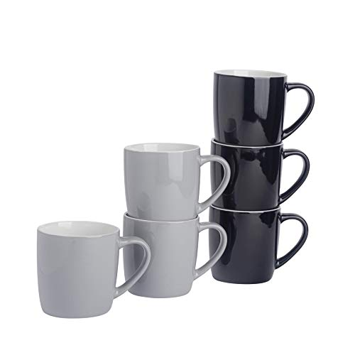 Argon Tableware Tasses à thé/café en céramique - coloré/Moderne - 340 ML - Noir/Gris - Lot de 6
