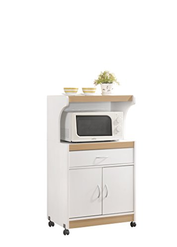 HODEDAH IMPORT Microwave Kitchen Cart, White