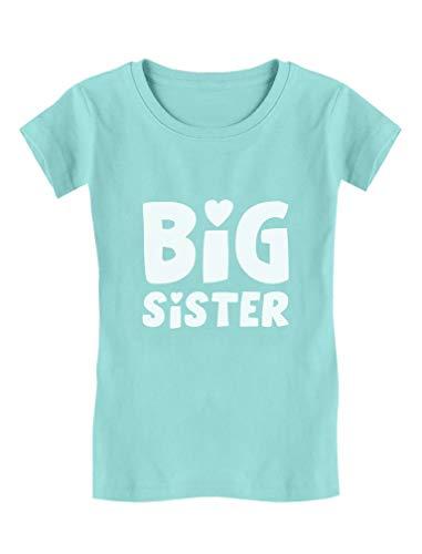 Big Sister – ideia de presente para irmãos mais velhos, camiseta justa para bebês e meninas, Azul frio, 3T