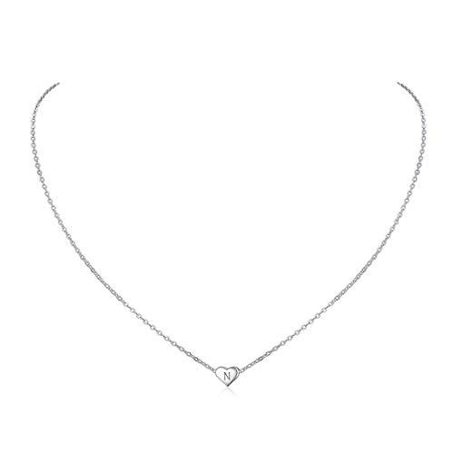 ChicSilver Collar Moderno para Mujeres Jovenes Corazón Colgante con 26 Letras Primeras N Plata de Ley 925 Hipoalergénico Joyería De Moda con Caja de Regalo