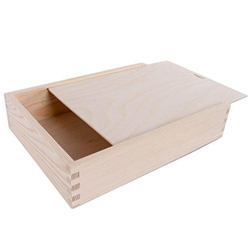 SearchBox Boîte en bois avec couvercle coulissant - 28 x 21 x 6 cm (L x l x H)