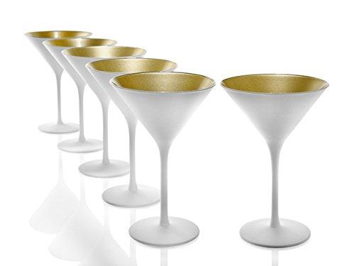 Stölzle Lausitz Cocktailschale Elements 240ml I Martini Gläser 6er Set I weiß-Gold I Cocktailgläser spülmaschinenfest & bruchsicher I hochwertiges Kristallglas I Martinigläser