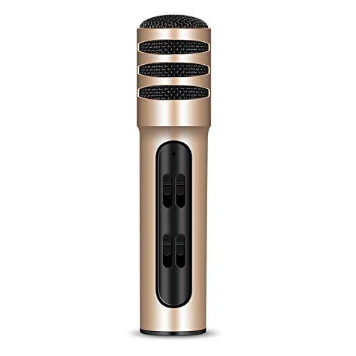 K Song Live Broadcast Live Capacitor microfoon BGN-C7 condensatormicrofoon dubbele mobiele telefoon karaoke live zang microfoon geïntegreerde geluidskaart (zwart), type Mini, eenvoudig te bedienen, Goud